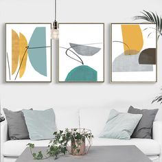 Abstract Art Printable Set of 3 Prints Blue And Yellow Art Abstract Geometric Art Fine Art Mid Century Modern Digital Prints Abstract Poster 3 Piece Wall Art, Wall Art Sets, Abstract Pictures, Wall Art Pictures, Kunst Picasso, Abstract Wall Art, Abstract Shapes, Abstract Geometric Art, Abstract Portrait