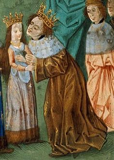 Richard II greets his young bride, Isabelle of Valois. Isabella of France (1389 – 1409) was Queen consort of England as the second spouse of King Richard II. Her parents were King Charles VI of France and Isabeau of Bavaria. Her younger sister, Catherine of Valois, was Queen consort of England from 1420–1422, as the wife of King Henry V of England and mother of Henry VI, King of England.