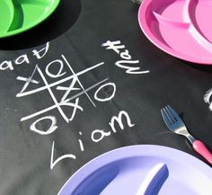 Chalk cloth table cloth for card table or kid play by TaDaaStudio, $15.00  Would be awesome for a dinner party!