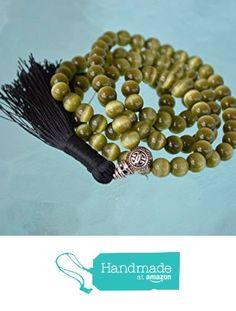 8 mm Green Cat's eye mala glass bead necklace 108+1 prayer beads handmade japa mala necklace. Energized buddhist meditation chakra mala beads - Free mala pouch included-USA Seller from AwakenYourKundalini https://www.amazon.com/dp/B01H4HDF0I/ref=hnd_sw_r_pi_dp_Hn-hybE9GTG60 #handmadeatamazon