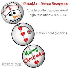 Editable Nurse Snowman Ornament Bottle Cap Image Collage Digital Build