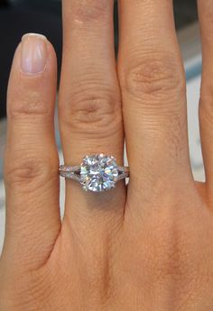 3 carat round brilliant diamond in a split shank setting, from Joe Escobar