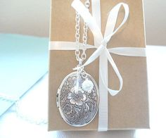 Silver Locket Necklace Cherry Blossom by RhondasTreasures on Etsy,