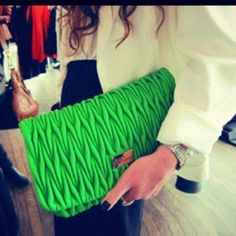 Neon is one of the hottest spring trends. We picked out the best hair, makeup, nails, and fashion accessories all celebrating this neon trend. Neon Clutch, Green Clutches, Oversized Clutch, Neutral Outfit, Fabric Manipulation, Favim, Spring Trends, Kermit, Neon Green