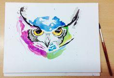 Draw Drawing Búho Watercolors Acuarelas Painting Animal Aquarelle Art