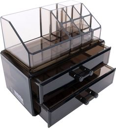 Black Acrylic Makeup Cosmetic Drawer Organizer and Jewelry Display Case Storage