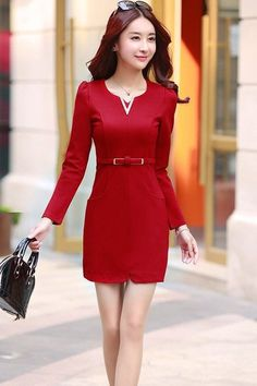 Free delivery | 100% Same Item | Made in Vietnam Belted Red Long Sleeve ₱1850.00   #ph #whatiwore #onlineshopph #outfits #lookbook #Dress #Philippines #look #outfitpost #travelph