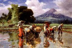 FERNANDO CUETO AMORSOLO (The Philippies 1892-1972)   Women working in a field, a volcano in the background   signed and dated 'FAmorsolo, 1954'   oil on canvas