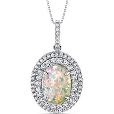MSRP: $249.99  Our Price: $99.99  Savings: $150.00    Item Number: SP11004    Availability: Usually Ships in 5 Business Days    PRODUCT DESCRIPTION:    With Kaleidoscope Rainbow Hues, this Sterling Silver Opal Pendant features brilliant round cubic zirconia that surround its colorful center in a double halo design.    Opal is October's birthstone and would make a perfect gift for the October birthday girl. It's also a wonderful gift for just about any occasion such as Mother's Day…