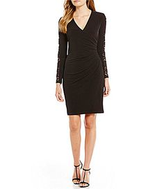 f44ca16b413 Calvin Klein Lace-Sleeve Surplice V-Neck Sheath Dress