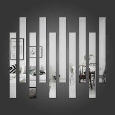 Decorative Mirror Stripes - New Deko Sites Mirror Decor Living Room, Bedroom Decor, Wall Design, House Design, Wall Mirror Design, Wall Mirror Ideas, Mirror Wall Art, Spiegel Design, Diy Home Decor