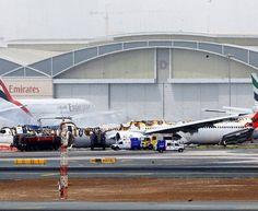 PHOTO Emirates Flight #EK521 (A6-EMW) wreckage at Dubai International Airport after fire extinguished