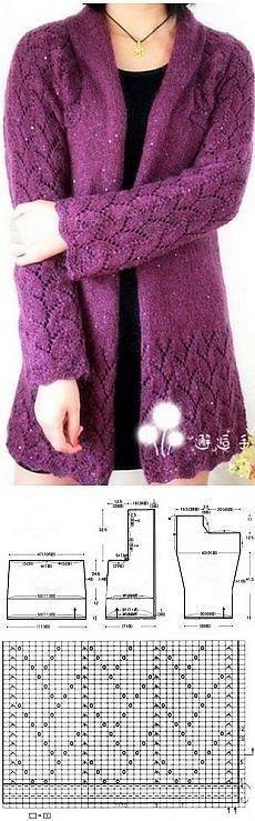 Knitting Charts, Lace Knitting, Knitting Stitches, Knit Crochet, Ladies Cardigan Knitting Patterns, Knit Patterns, Knit Jacket, Knitted Shawls, Knitting Designs