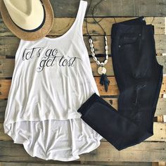 Wander in our PPLA Let's Go Get Lost Tank <3 {Also pictured: Just Black Distressed Fray Skinnies | Two-Tone Fedora | Cowrie Shell Necklace | shoppage6.com