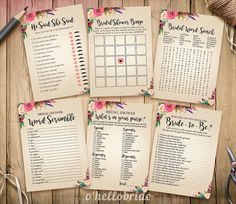 Bohemian Bridal Shower Games Package Printable by ohellobride More