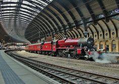"45699 ""Galatea"": LMS Class No. 45699 'Galatea' at York - The Scarborough Steam Special' - May 2014 Train Car, Train Tracks, Old Steam Train, Rail Transport, Steam Railway, Railway Posters, Old Trains, British Rail, Electric Train"