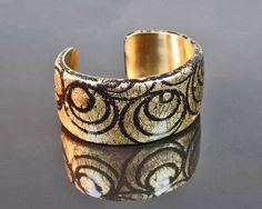 Polymer clay and brass cuff bracelet, gold and black, statement, ooak by RadiantOriginals on Etsy