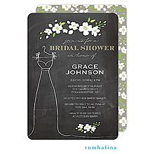 Floral Dress Chalkboard Bridal Shower Invitation in gray and green