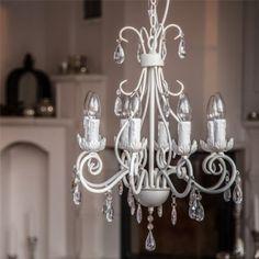 Kronleuchter VILLA mattweiss 8-armig aus Metall mit Kristallen Deckenlampe Deckenleuchte Lüster Hängeleuchte