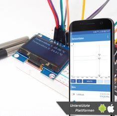 Mit Hilfe dieser Anleitung kannst du mehrere Temperaturen (kabelgebunden, in Luft, Wasser und sogar im Boden) messen.   Die Daten werden über WLAN an dein (Android und iOS) Smartphone übertragen und helfen dir z.B. deinen Warmwasserspeicher, dein Gartenhaus und vieles mehr zu überwachen.   In diesem Projekt werden ein NodeMCU Amica v2 (basierend auf dem ESP8266 Mikrocontroller) und zwei kabelgebundene DS18B20 Sensoren verwendet. Galaxy Phone, Samsung Galaxy, Mp3 Player, Ios, Smartphone, Android, Electronics, Wi Fi, Garden Sheds