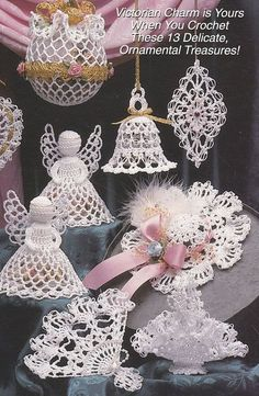 Victorian Christmas Ornaments Crochet Patterns - Victorian Memories III Angel Bell Heart Fan | Victorian christmas ornaments, Victorian christmas and ...