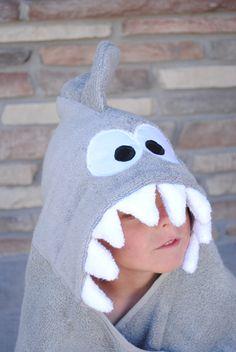 Grey shark hoodie towel