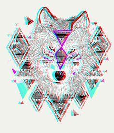 Tribal glitch wolf
