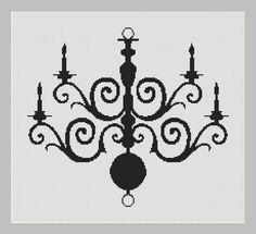 Chandelier Silhouette Cross Stitch Pattern por InstantCrossStitch