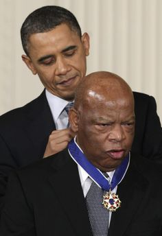 """President Barack Obama presents a 2010 Presidential Medal of Freedom to Rep John Lewis. """"Hate is a heavy burden to carry"""" - Congressman John Lewis, a former Freedom Rider and the last living of the """"Big Six"""" Civil Rights leaders. Joe Biden, Durham, Presidente Obama, Barack Obama Family, First Black President, By Any Means Necessary, Black Presidents, Barack And Michelle, First Ladies"""
