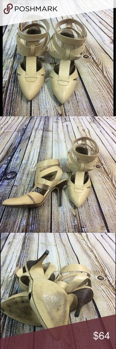 Free People Nude Heels 9 Gorgeous pair of heels by free People. They are marked a size 10 but they run small, I'm a size 9 and fit me well. In good not perfect condition as light wear on outer sole. Free People Shoes Heels
