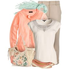 Mint and Peach with Neutrals, created by yasminasdream on Polyvore