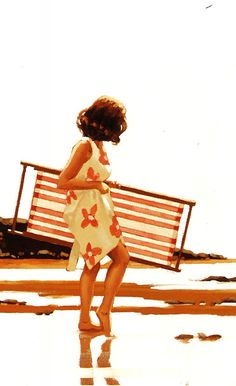 jack vettriano lady with deck chair