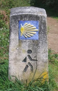 Waymarker for El Camino, the centuries old pilgrims' footpath across Spain to Santiago de Compostela, the busiest pilgrimage site in medieval Europe. Coquille St Jacques, Early Middle Ages, The Camino, Spain And Portugal, Saint James, Canary Islands, Pilgrim, Places To See, Spirituality