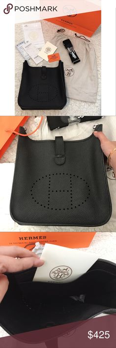 Hermes Evelyne Bag black Price reflects A u t h en ti ci t y.  Bought this at HK. Real Leather. Brand new comes with Everything in the picture I will ship it together with Receipt, card, dust bag, and paper bag. Excellent Quality  If making an offer pls use the offer button only. Thank you. Hermes Bags Crossbody Bags