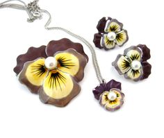 Vintage 1940s PANSY Enamel Flower Brooch Necklace Earrings Set Sterling Pin  #Unsigned