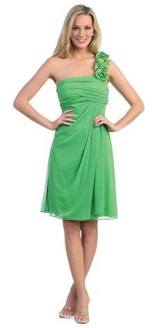 One Shoulder Knee Length Black Chiffon Bridesmaid Dress