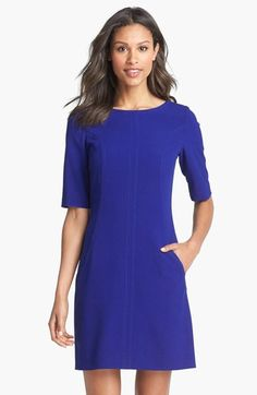 Own this dress in 2 colors for work-- love it because of fit, fabric with some stretch, sleeves so I don't need to find a sweater/jacket, and pockets!!