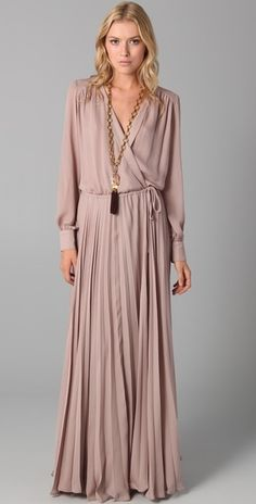 Parker Wrap Dress with Pleated Skirt in Pink (blush) - Lyst