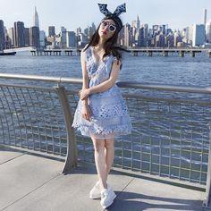 blue lace dress #pixiemarket