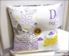 Create four different blocks to make a personalized pillow using your favorite stamps and Colorbox Crafter's Ink! | Clearsnap Blog