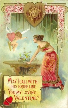 free angel postcard image | Click one of the free vintage Valentines below to view and download a ...
