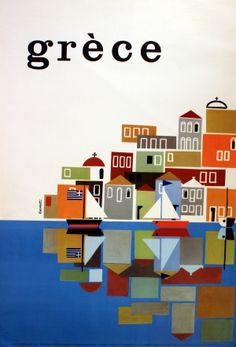 Greece by Carabott, 1961 - original vintage poster by Frederick (Freddie) Carabott listed on AntikBar.co.uk