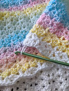 This pattern is for a light, airy baby blanket. The pattern works up quickly, and makes for a beautiful baby shower gift! Crochet Afghans, Crochet Ripple Blanket, Crochet Baby Blanket Free Pattern, Afghan Crochet Patterns, Baby Patterns, Crochet Yarn, Crochet Stitches, Dishcloth Crochet, Baby Afghans