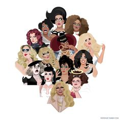 The queens of season 7 A group shot of all 14 queens from RuPaul's Drag Race Season 7 (top to bottom, left to right) Tempest Dujour, Jasmine Masters, Kennedy Davenport, Miss Fame, Jaidynn Diore Fierce, Katya, Kandy Ho, Trixie Mattel, Mrs. Kasha Davis, Max Malanaphy, Sasha Belle, Violet Chachki, Ginger Minj, & Pearl.