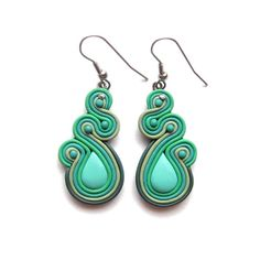Your place to buy and sell all things handmade Polymer Clay Owl, Polymer Clay Creations, Polymer Clay Earrings, Soutache Earrings, Diy Earrings, Earrings Handmade, Soutache Pattern, Mint Green, Navy Green