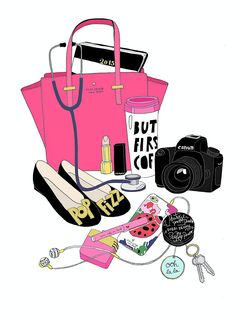 Check out this illustration created for Maureen. Bag Illustration, What In My Bag, Fashion Art, Fashion Design, Fashion Sketches, Fashion Illustrations, My Bags, Cute Wallpapers, Girly Things