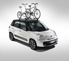 2012 Fiat with roof rack and bikes. Fiat 500l, Fiat Abarth, New Upcoming Cars, New Fiat, Bike Rack, Roof Rack, Sexy Cars, Cars And Motorcycles, Automobile