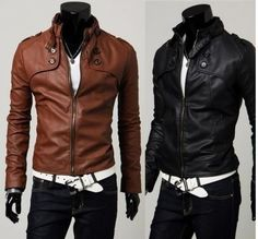 Mens Sexy Fashion Slim Design Fit PU Leather Coat Jacket Black Brown @ $17.00 | eBay