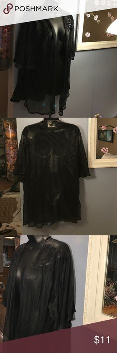 "Vintage sopre lingerie black sheet robe 3X Like brand new condition, which is difficult for this age of an item.  Wide sleeves: 12"" shoulders: 5"". No belts or loops. Looks sexy but subtle, so yuh can wear this anytime, you don't need a special occasion. Elegant and sheer with lace on top. Very flowy and feminine. Sleeve length (measuring from top: 13"" with Darin trim. Top of shoulder to bottom: 30"". I think the way this fits, it's a more versatile piece when it comes to sizing. Made of 100%…"