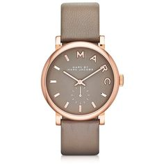Marc by Marc Jacobs Women's Watches Baker 36 MM Gray Leather Strap and... (2 785 ZAR) ❤ liked on Polyvore featuring jewelry, watches, grey, women's watches, logo watches, womens jewellery, grey market watches, blue dial watches and wristwatches
